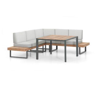 Das Lounge-Set Alu-Teak Capri besteht aus einem Esstisch und einer gemütlichen Bank.