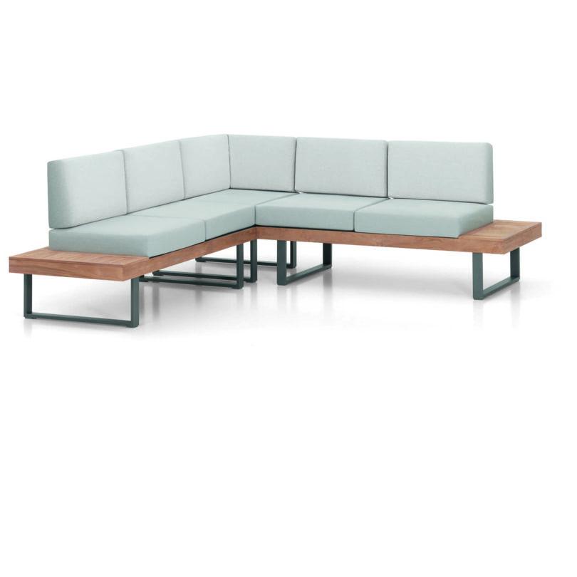 Bestellen Sie jetzt das Lounge-Set Alu-Teak Capri, das neben einem Esstisch auch eine Bank umfasst, deren Sitzhöhe zu jedem durchschnittlichen Esstisch passt.