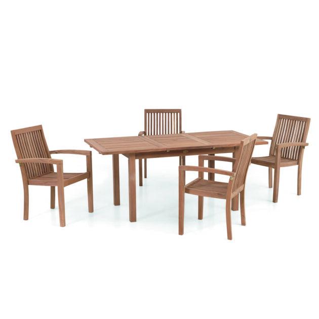 Das Set Denpasar ist eine Outdoor Essgruppe bestehend aus einem ausziehbaren Tisch und 4 Sesseln, die unter den Tisch geschoben werden können.