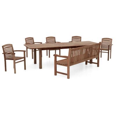 Bestellen Sie jetzt das Set Oxford online bei Teak-It, bestehend aus einem Tisch, einer Bank und 5 stapelbaren Sesseln.